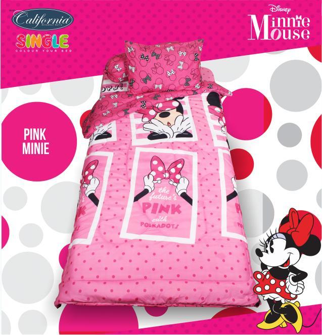 Bed Cover California motif PINK MINNIE Mouse Ukuran 120 x 200 cm Single Size disney
