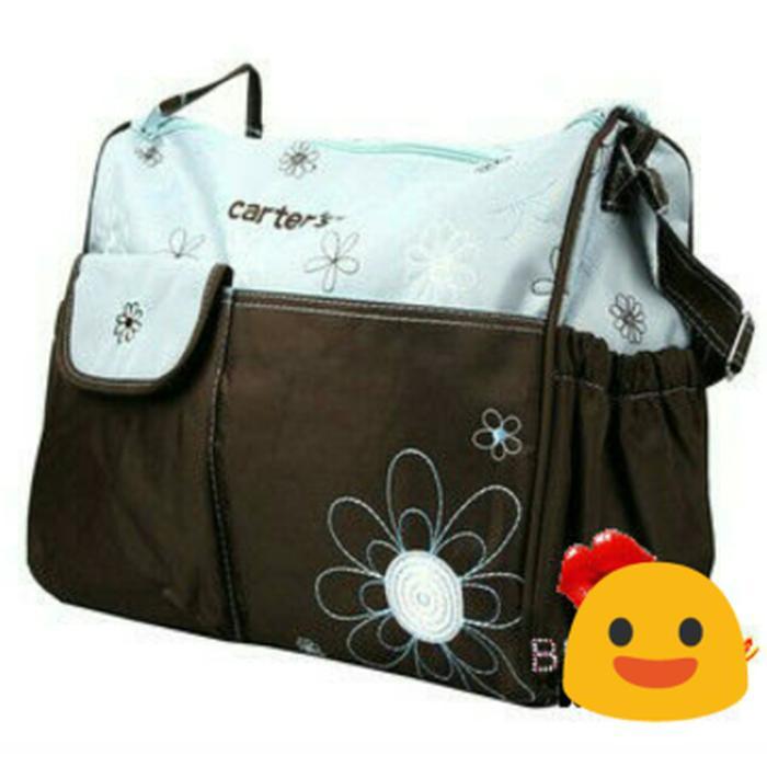 Tas Perlengkapan Bayi Carter Diaper Bag Besar Flower Blue