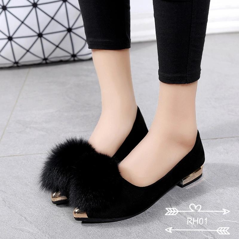 Rafishashoes-Flat Shoes Prilly Suede-[Black]