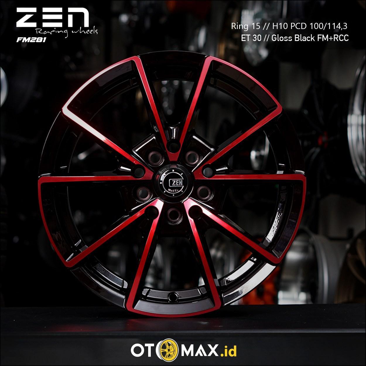 Velg Mobil Zen Nachi (FM281) Ring 15 Gloss Black Full Polish+Red Clear Coat