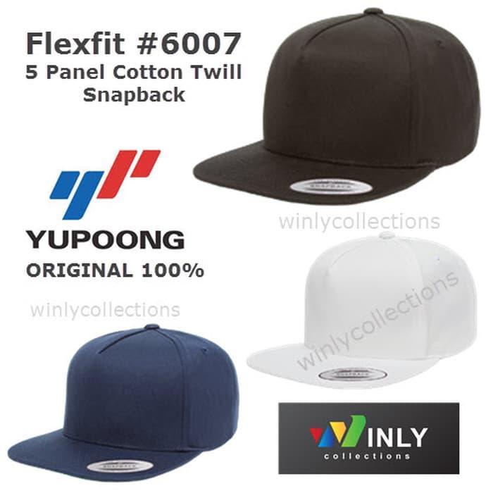 Hot Item!! Topi Flexfit 5 Panel Cotton Twill Snapback 6007 Yupoong Ori - ready stock