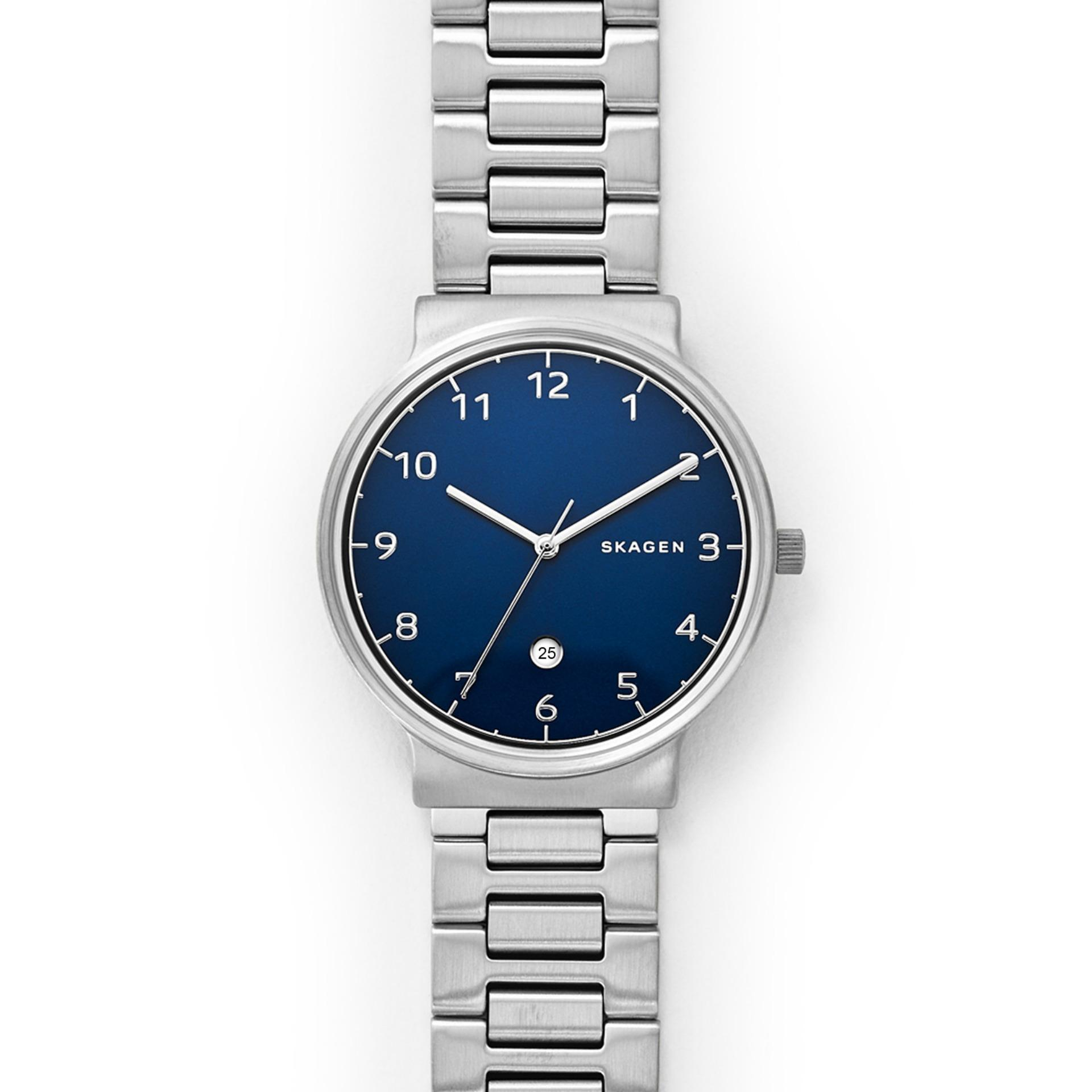 Skagen Ancher - Blue Round Dial 40mm - Stainless Steel - Silver - Jam Tangan Pria - SKW6295 - SL