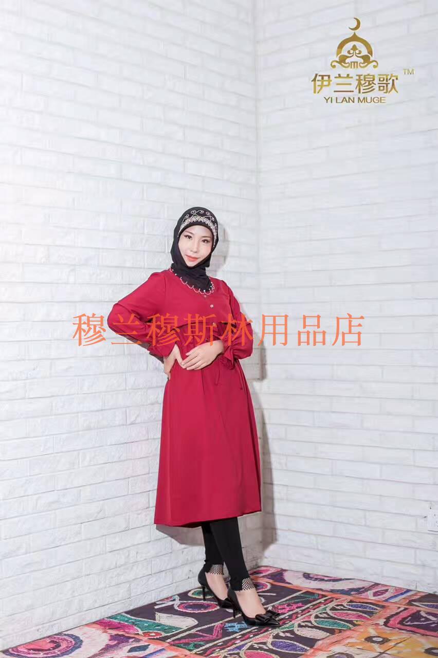 Model baru Highwaist seri Gesper Korea Selatan rami gaun Islam pakaian ibadah keluarga 回民 pakaian gamis bertali