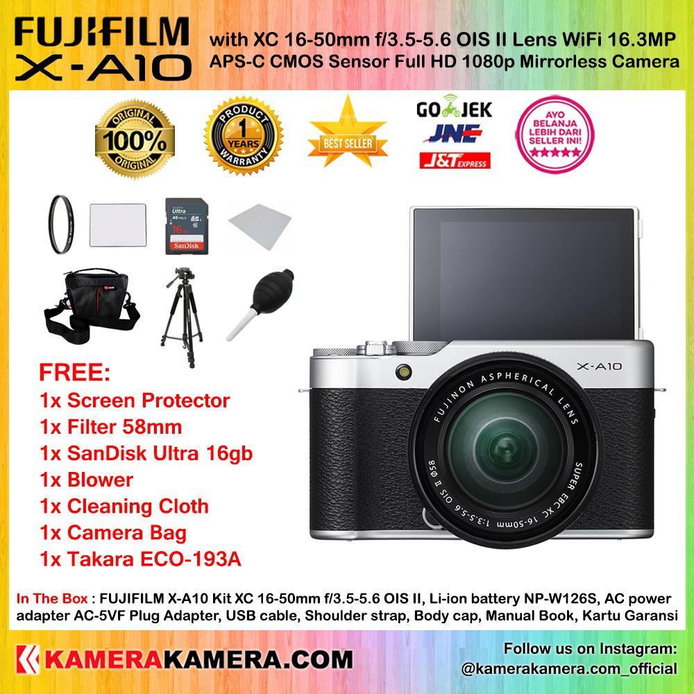 FUJIFILM X-A10 Kit XC 16-50mm OIS II SILVER WiFi 16MP (Garansi 1th) + Screen Guard + SanDisk Ultra 16gb + Filter 58mm + Air Blower + Cleaning Cloth + Camera Bag + Tripod Takara ECO-193a