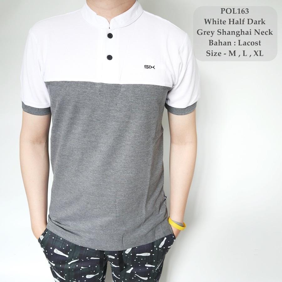TGF 163 Kaos Berkerah Kombinasi Putih / Polo Shirt Cowok / Kaos Polo Kerah Koko / Baju Sanghai Fashion Pria