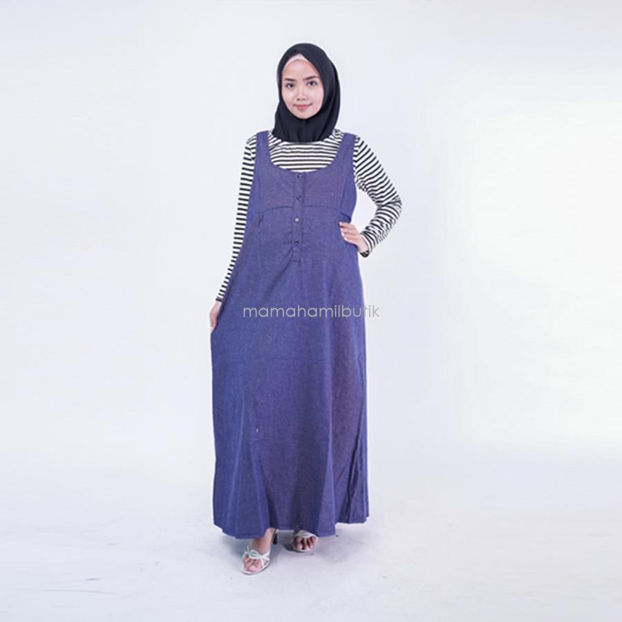 Ning Ayu Dress Muslim Overall Maxy Free Inner - DRO 702 Maxi / Baju Menyusui Lengan Panjang / Baju Atasan Menyusui / Baju Menyusui Muslimah / Baju Muslim Wanita untuk Ibu Menyusui/ Baju Hamil Untuk Kerja / Baju Hamil Untuk Kerja Modis