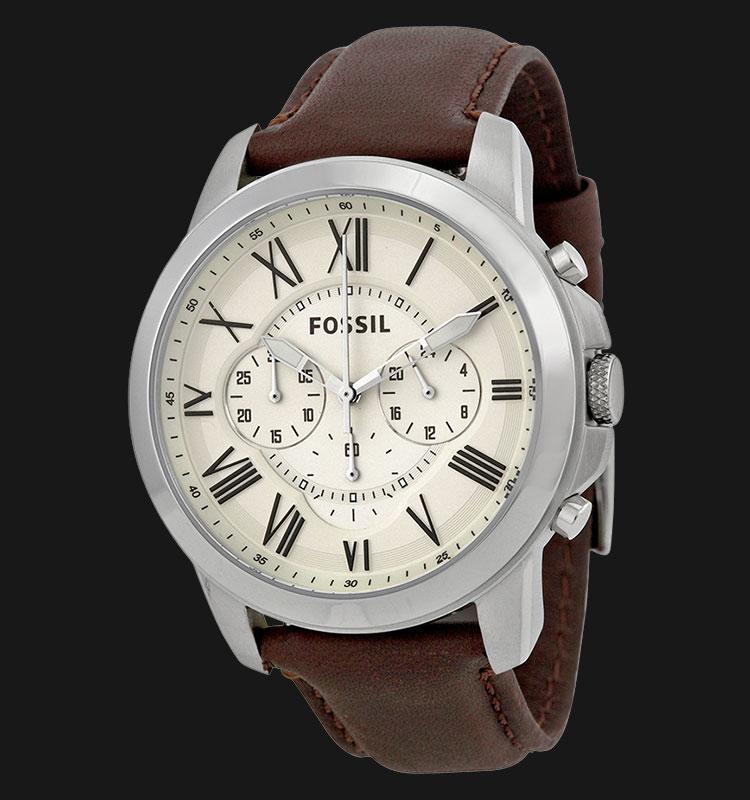 Jam Tangan Pria Fossil FS4735 Grant Chronograph Brown Leather Strap