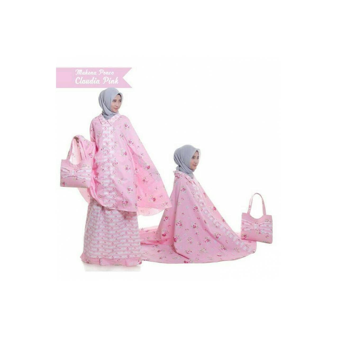 mukena pink ponco mukenah branded elegan mewah murah batik bunga + tas