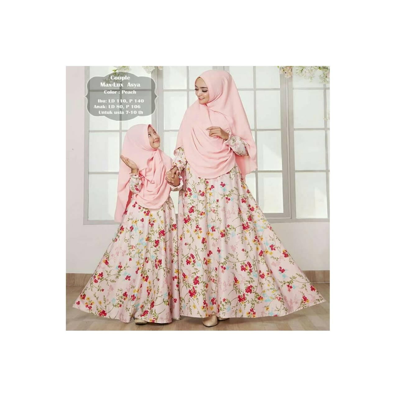 baju Couple gamis syari Murah / maxi dress pesta ibu anak asyya peach
