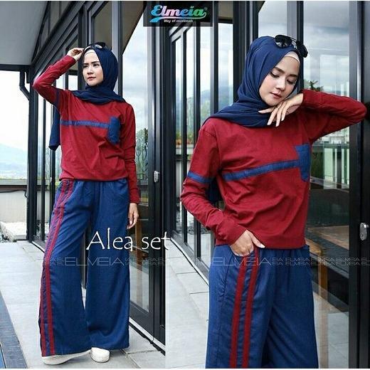 Baju Original Setelan Alea Set Baju Wanita Hijab Trendy Celana + Baju Atasan Modern Modis Casual Trendy Terbaru 2018