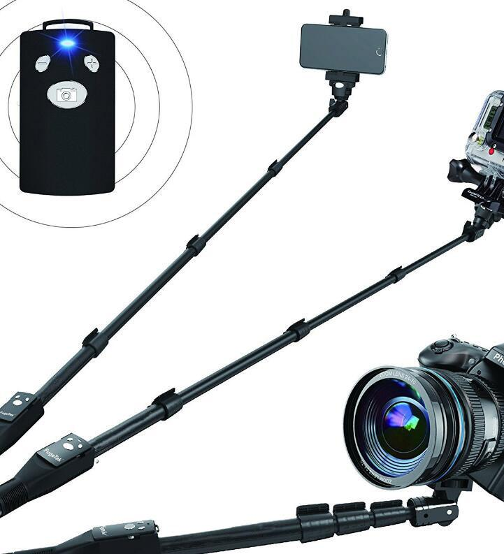 Jvgood Tongsis Profesional Aluminium Paduan Selfie Tongkat Monopod, Bluetooth Jarak Jauh untuk Apple, Android, & DSLR Kamera GoPro (Dapat Diperpanjang Sampai 49
