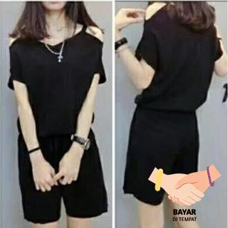 Sexy Jumpsuit Raina Casual Wanita - Black