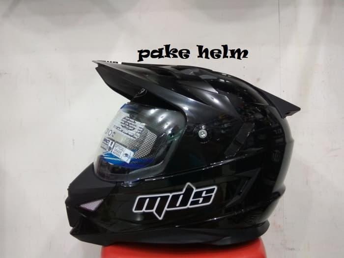 HELM MDS SUPER PRO SUPERPRO SOLID HITAM GLOSSY SUPER MOTO SUPERMOTO
