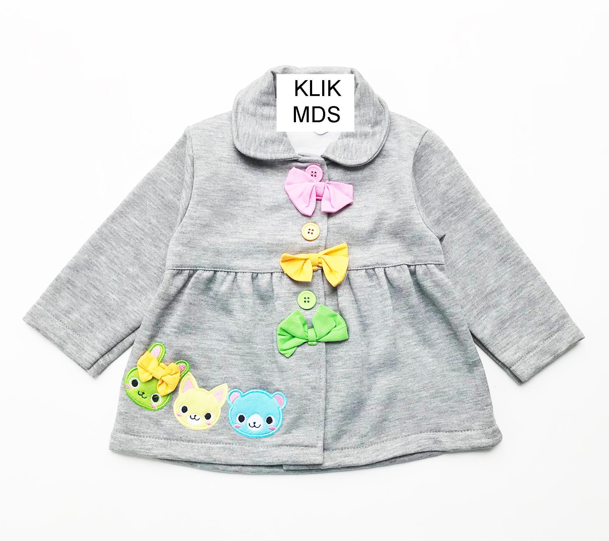 Klik Mds Baju Jaket Anak Bayi Perempuan / Jacket Motif Karakter Trio colourfull Bunny And Bear