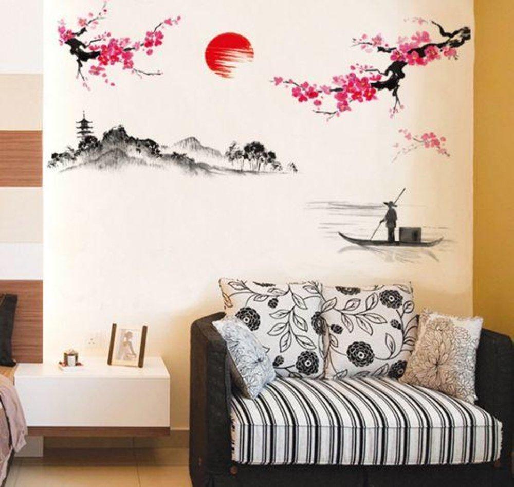 JM7303 Sakura Painting Stiker Dinding Wall Sticker Wallsticker terbaru ETOSHOP etoshop