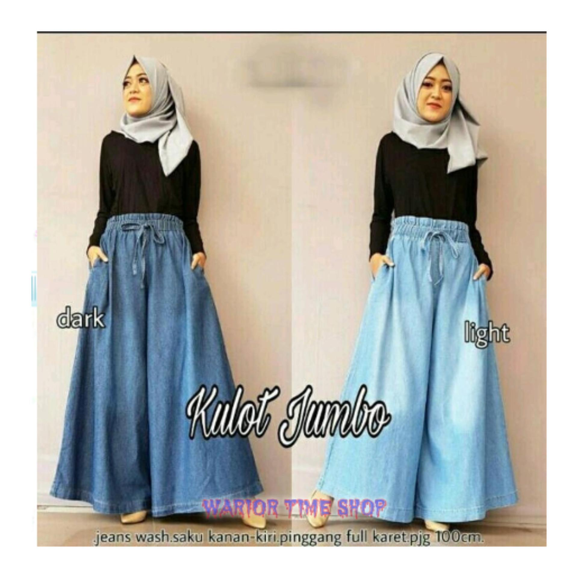 NEW Celana jeans kulot panjang wanita jumbo long pant Jayreen -Light Blue