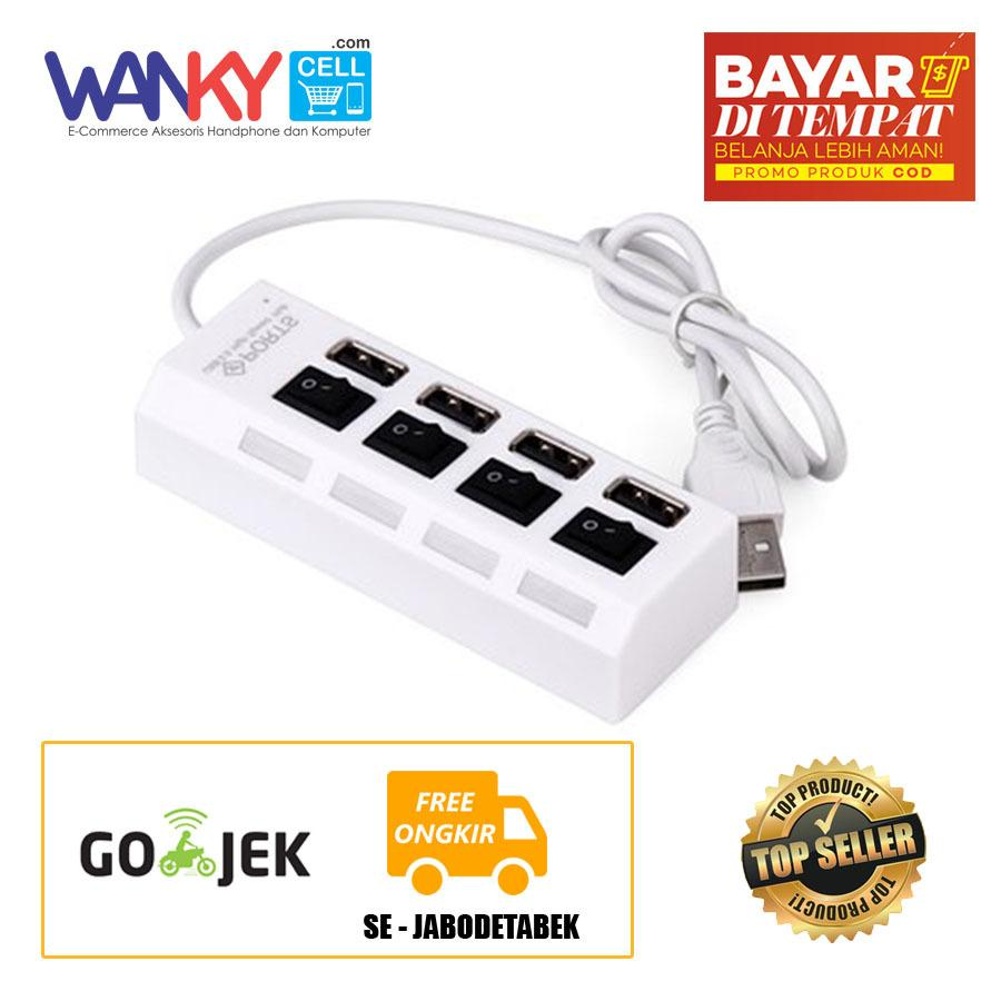 Audi USB HUB 4 Port Universal On Off LED All Device Keyboard/Mouse/Flashdisk/Modem - Putih