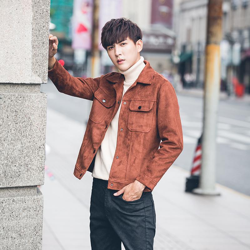 Trendi Pria Karakter Beludru Kulit Rusa Musim Dingin Baru Jaket Jaket Pria (Warna Karamel)