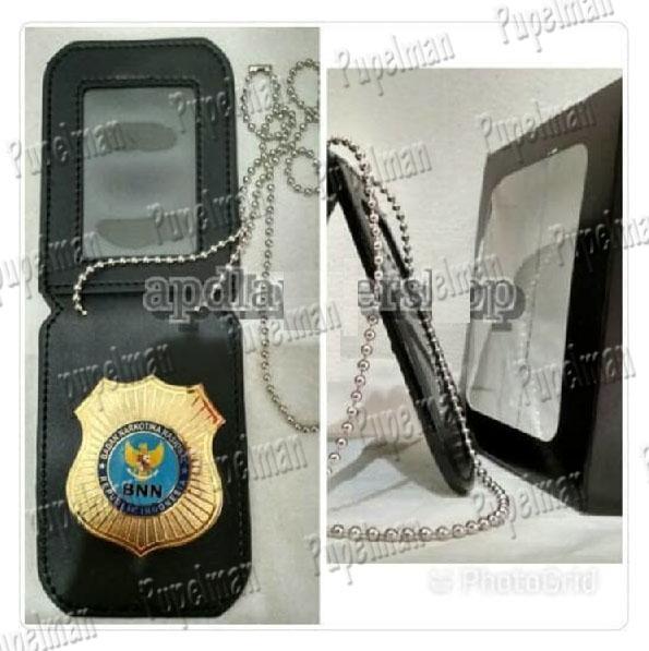 Dompet Name Tag Id Card Holder kalung lencana KTA BNN BIN Kulit Polisi Satpam Police Petugas Keamanan Army Tentara Dompet Pria Wanita