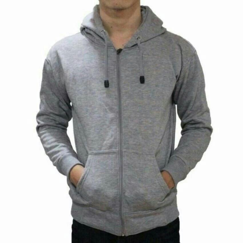ABL - Jaket Sweater Hoodie Pria Zipper Polos Bahan Fleece d7438e02e8