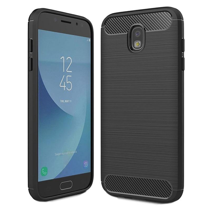 Softcase Ipaky Carbon Fiber Shockproof Hybrid Case for Samsung Galaxy J7 Pro - Hitam