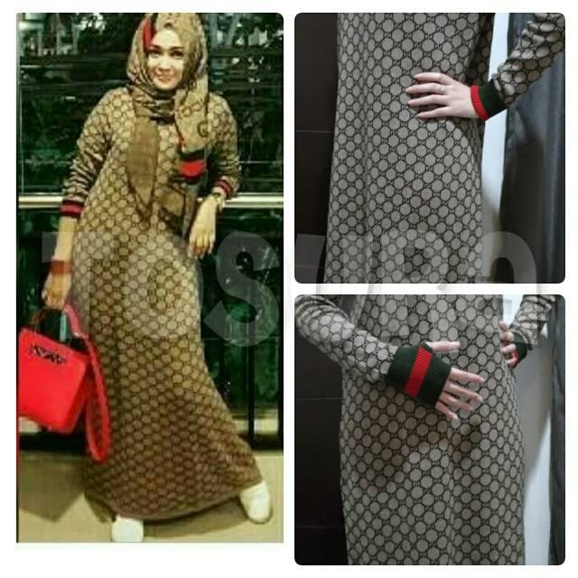 LIMITED EDITION Gamis rajut Gucci Guci 2 in 1 Roundhand Import / maxy dress rajut tebal 2in1 (Cream)