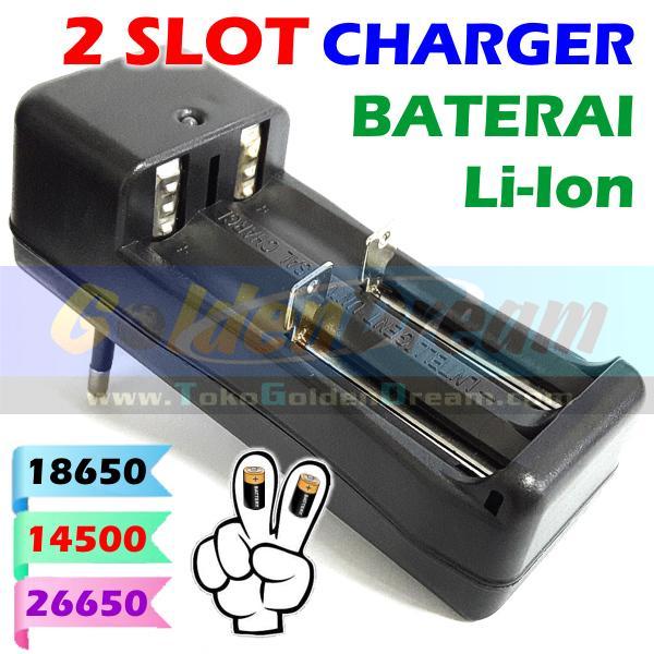 2 Slot Charger Baterai 18650 14500 26650 Lithium Ultrafire Police Vape Genzatronik