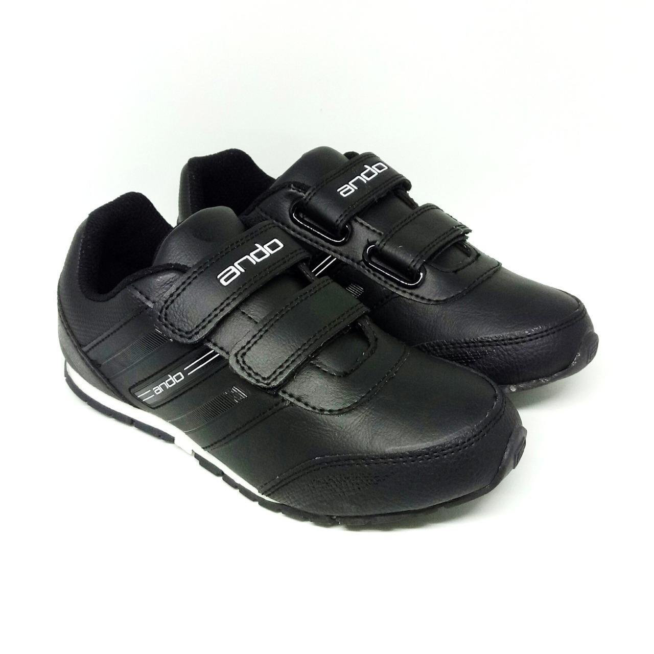 Jual Alas Kaki Ando Terbaru Sepatu Sekolah Anak Sport  Biru Navy Oren