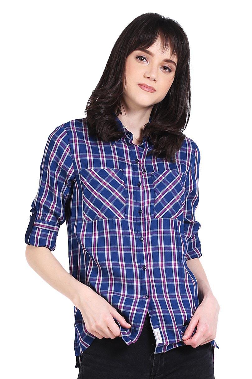 Cressida Pakaian Blouse dan Kemeja Wanita Ladies Plaid Shirt Blue