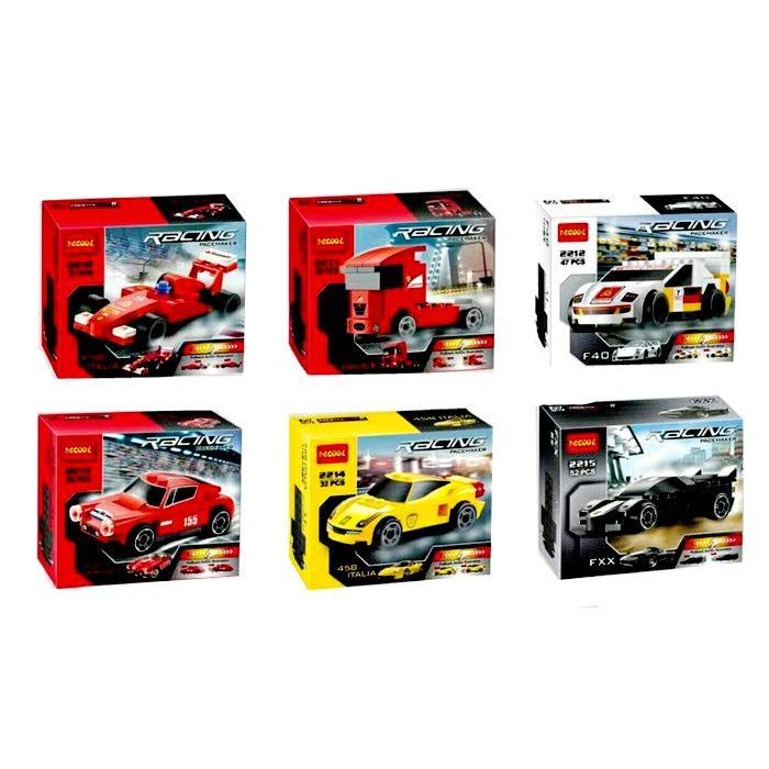MAMBEIOO - Lego KW 6 in 1 Decool Blocks 2210-2215 Racing Car Pullback Pacemaker