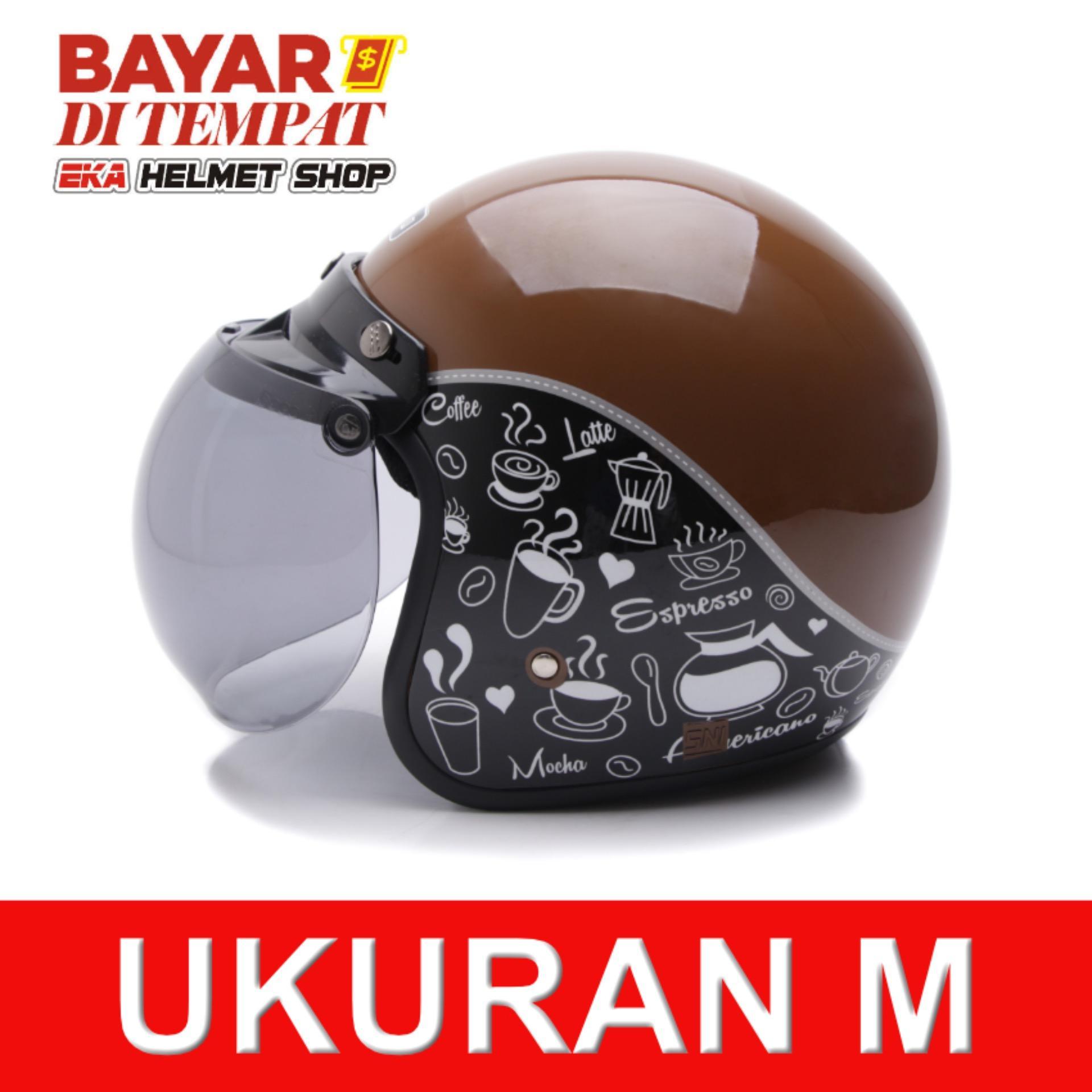 WTO Helmet Retro Bogo - Classic Coffee - Cokelat Hitam