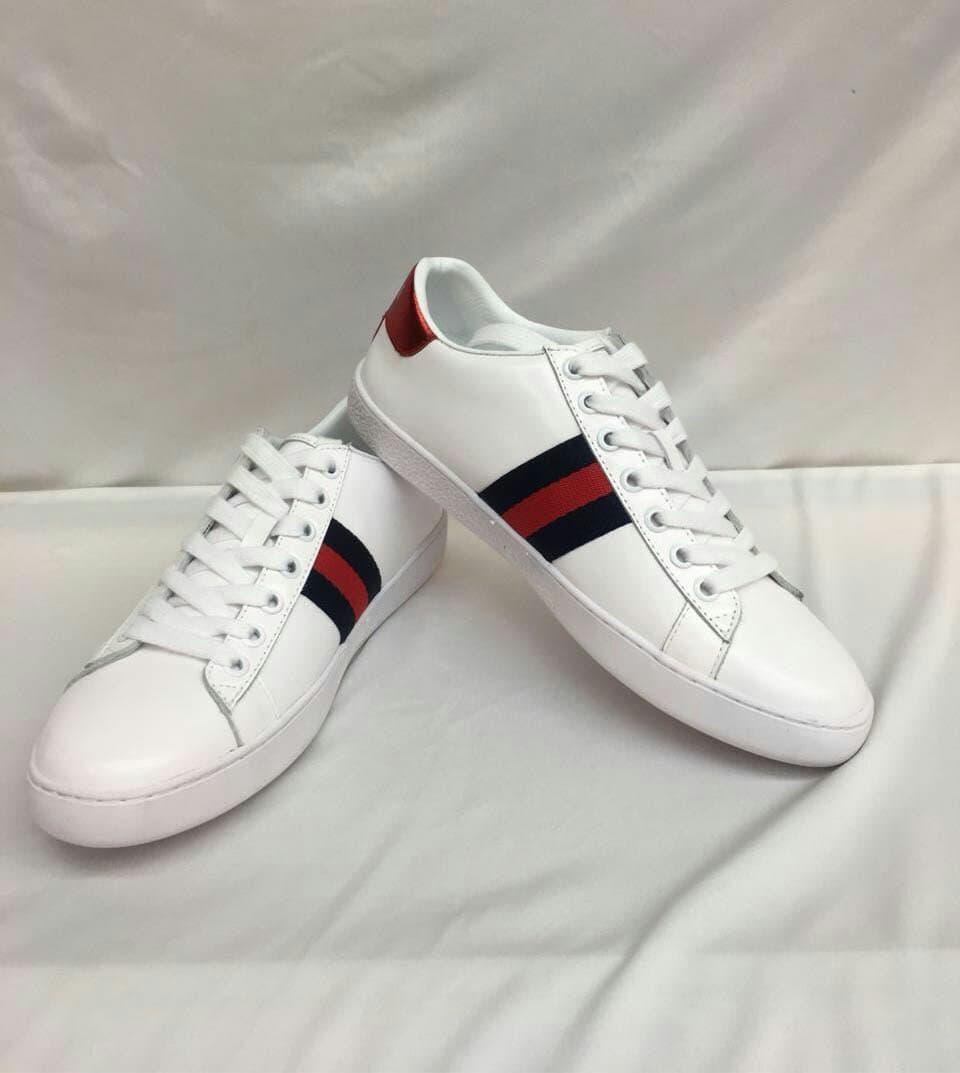 SEPATU GUCCI WHITE SNEAKERS RED STRIPE GREEN MIRROR QUALITY