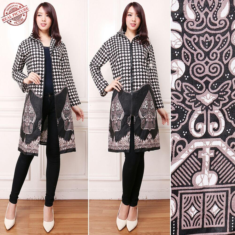 Cj collection Blazer batik 2in1 dress maxi pendek atasan blouse long tunik kemeja wanita jumbo shirt mini dress Vika
