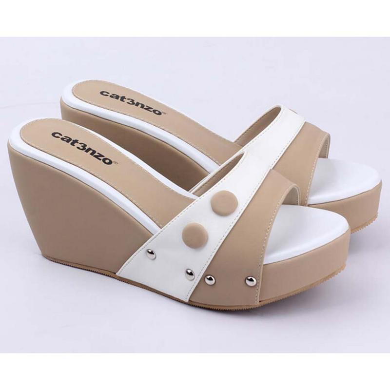 Sandal Sendal Wedges Wanita Cewek Cewe Warna Putih Komb JK 537 CZ SNWNP