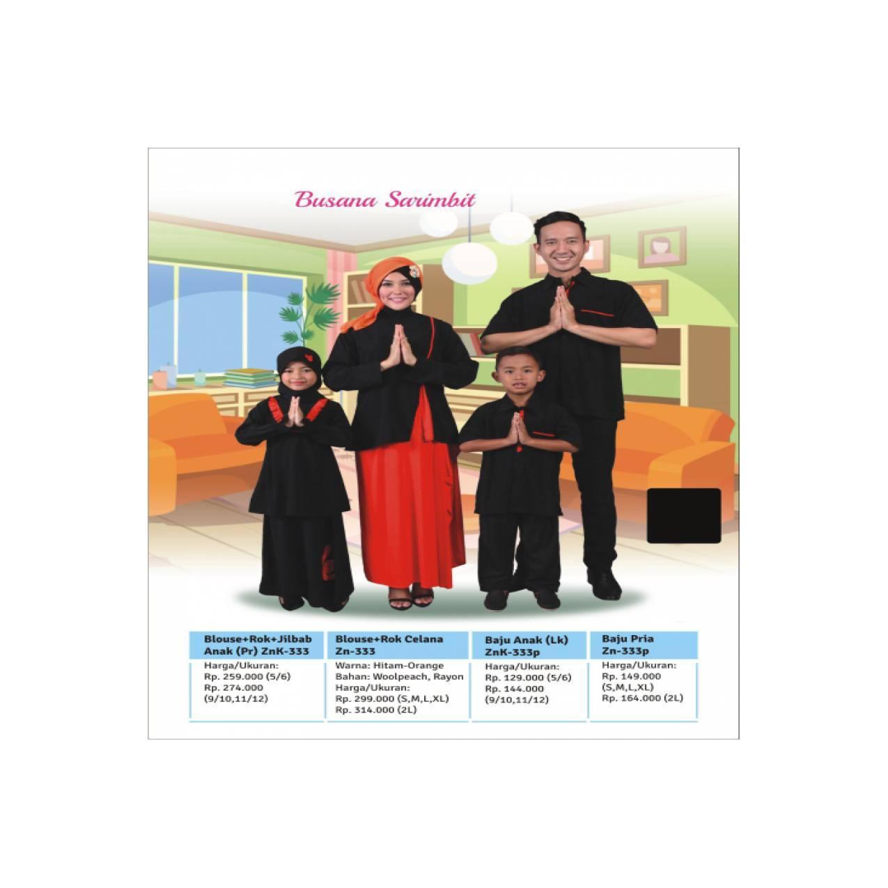 Sarimbit Keluarga Terbaru - Zenitha - ZN 333 Hitam - Baju Keluarga