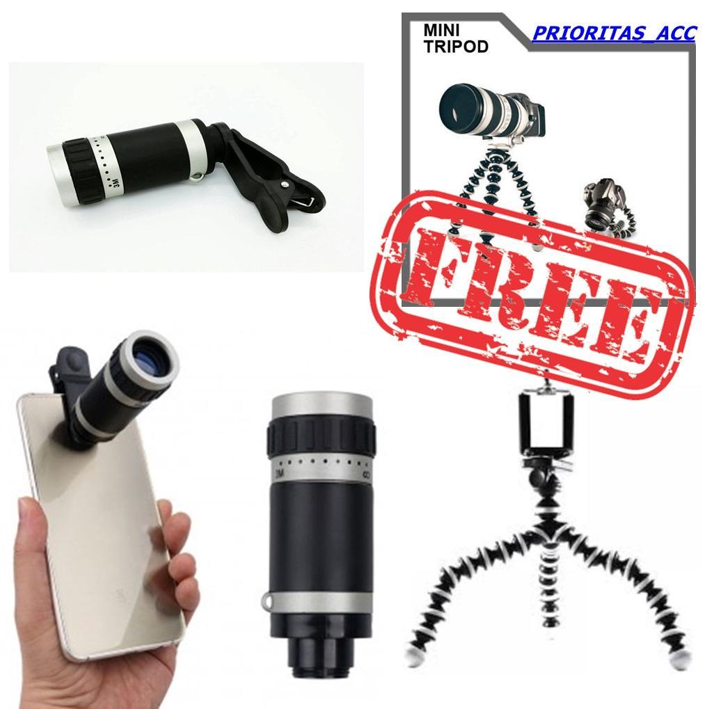 Lensa Tele Zoom 8x Universal Telescope Clip Jepit Mobile Phone + free tripod