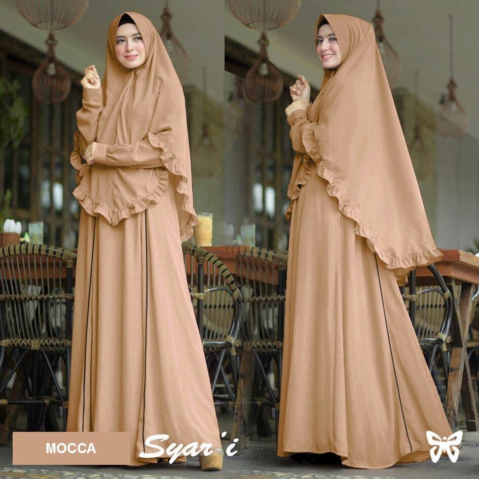 Jual Baju Muslim Wanita Gamis Terbaru Hijab Zaina Syari Kerudung Panjang Jilbab Set 2 In 1 Lis Msr054