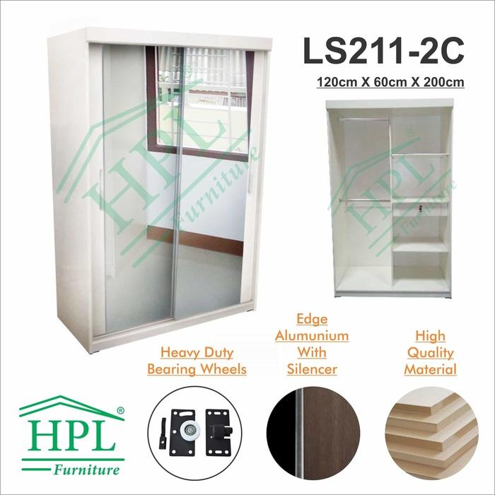 Lemari Pakaian HPL Sliding 2 Pintu Putih Glossy+Kaca 2 Pintu LPS-207 @ lemari pakaian kayu jati plastik anak portable minimalis plastik murah gantung sliding bayi