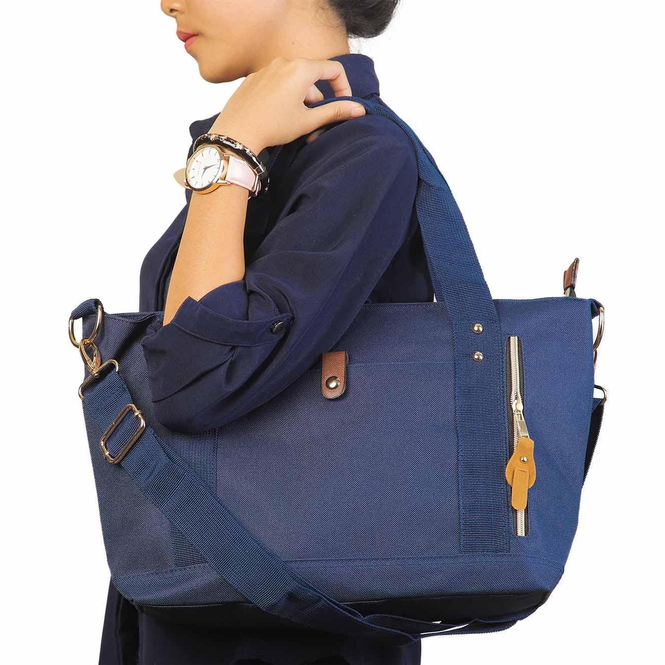Eloria Promo Tas Wanita Traveling Casual Selempang Fashion Shopping Tote  Bag Korean Import - Navy Blue b2d43364cd