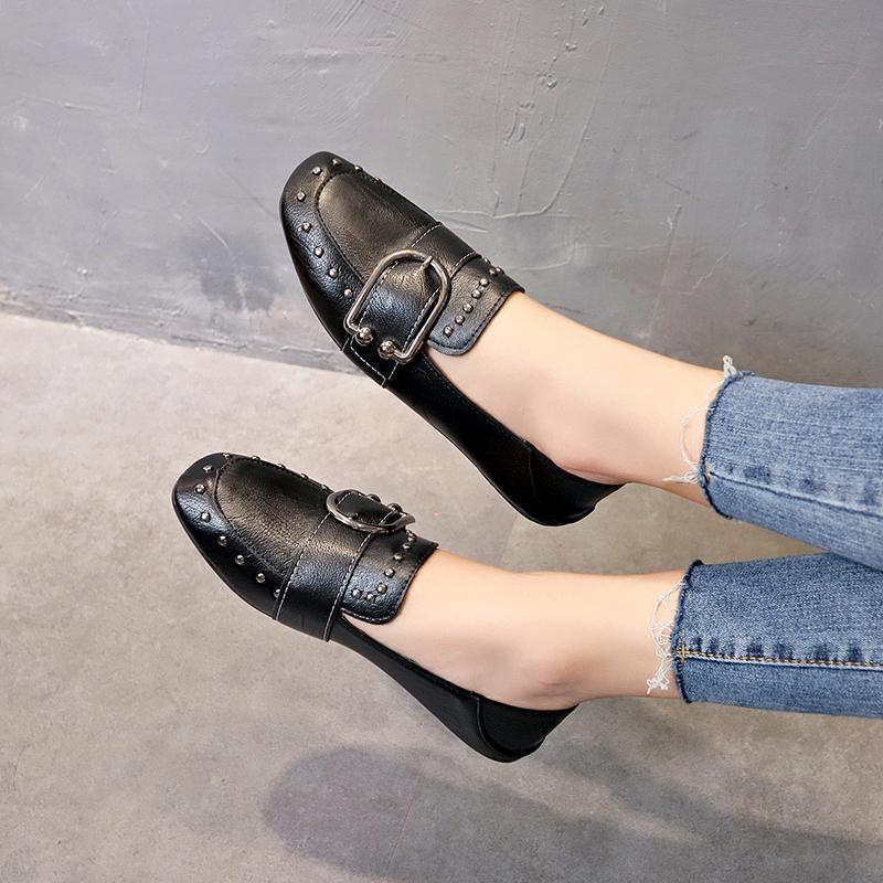 9cefb0cb24c Sepatu kacang polong perempuan 2019 model baru sepatu lapisan tunggal wanita  sol datar Sepatu santai Sepatu