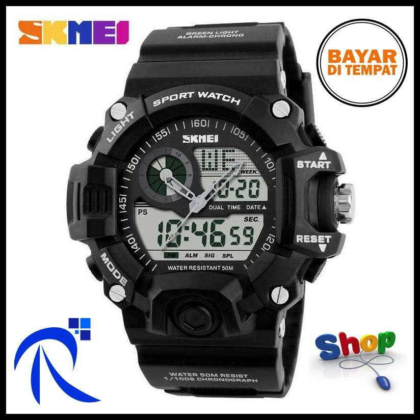 SKMEI S-Shock Men Sport LED Watch Water Resistant 50m AD1029 Jam Pria - Red / Merah / Arme Green / Hijau Army / Camouflage / Kamuflase / Blue / Biru / Black / Hitam Jam Tangan Cowo Cowok Sporty Trendy Stylish Berkualitas Original FREE ONGKIR