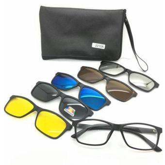 Harga preferensial Sunglasses Kacamata Hitam 2215A Clip On 5 Lensa Magnetic  Polarized Clip-On Plastic 744527f5ec