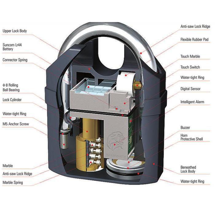 Gembok Alarm Motor Suara Anti Maling / Lock 2 Mode Sirene Alarm | ( gembok alarm motor anti maling koper sepeda pagar cakram kinbar kode tas mobil clock rumah sensor gerak pintu digital remote lock bht ) |