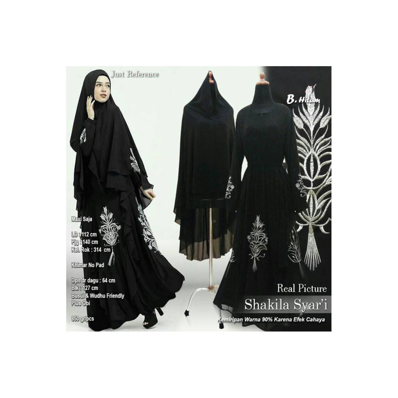 Baju Pengantin Muslimah 120165 GAMIS WANITA SHAKILA SYARI HITAM