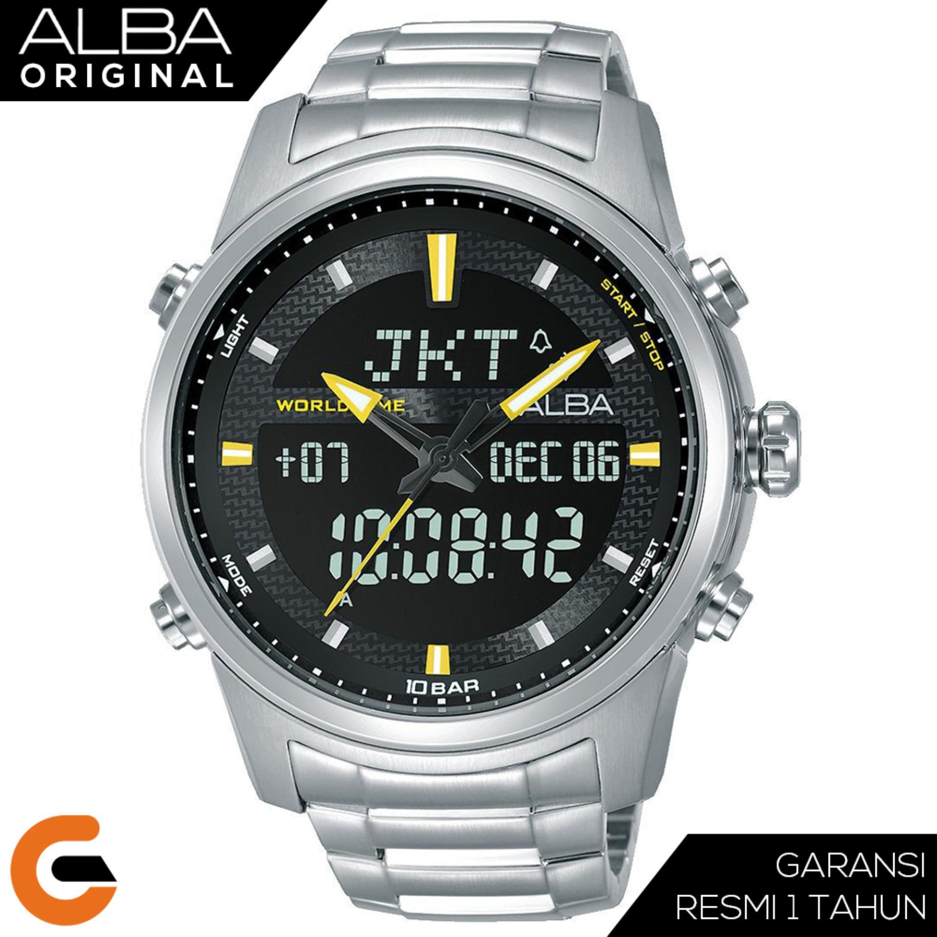 Alba Chronograph Jam Tangan Pria Dual Display Digital Analog World Time  Tali Kuli Stainless Steel AZ40 9edbb2fc46