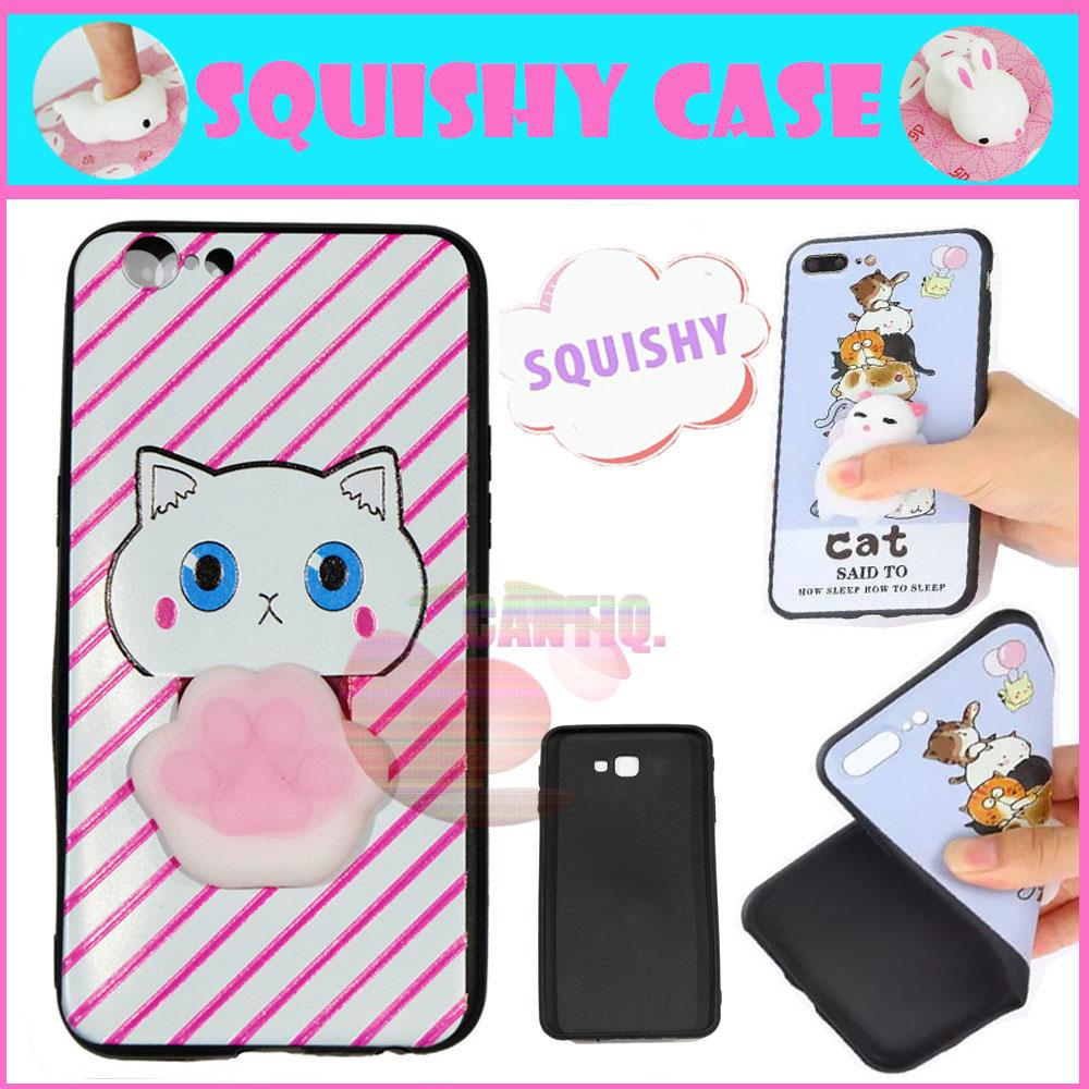 Icantiq Squishy Case Oppo A39 Squishy Cute Cat Pink Horizontal Line / Silikon 3D Squeeze Oppo