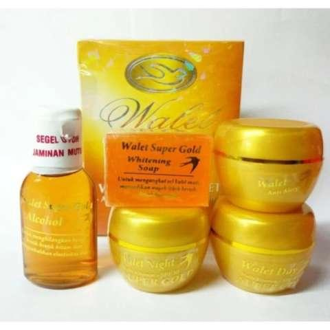 Paket Cream Walet Super Gold Premium Whitening Anti Aging Paket 5 In 1(Whitening Soap