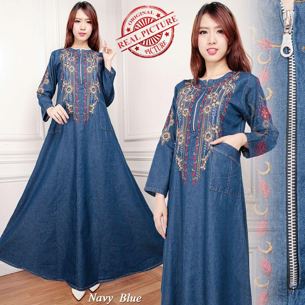 TJ Collection Gamis Maxi Kamila Long Dress Jeans Wanita