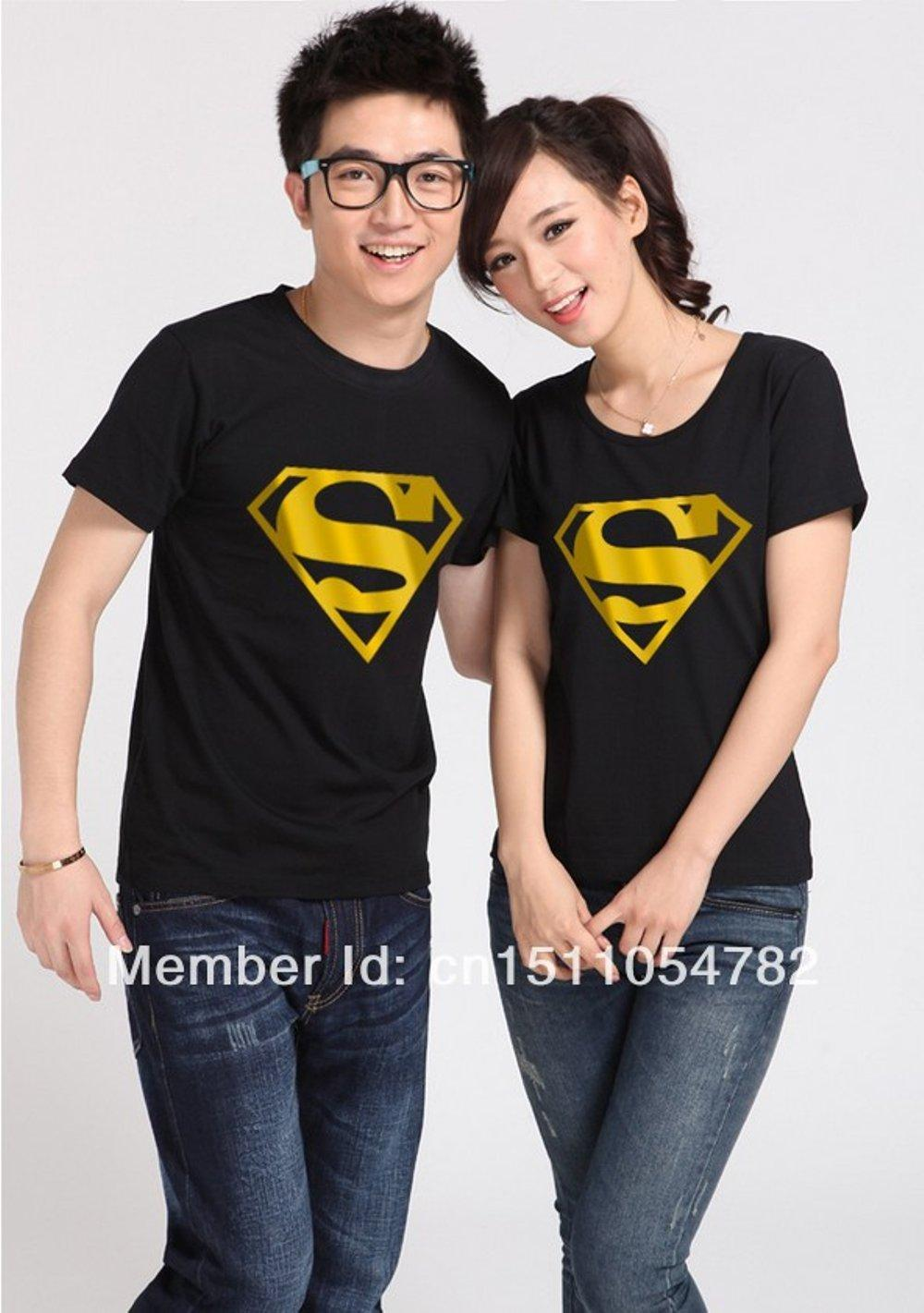 KAOS COUPLE SUPERMAN GOLD FOIL (HITAM) di lapak COUPLE GROSIR couplegrosir