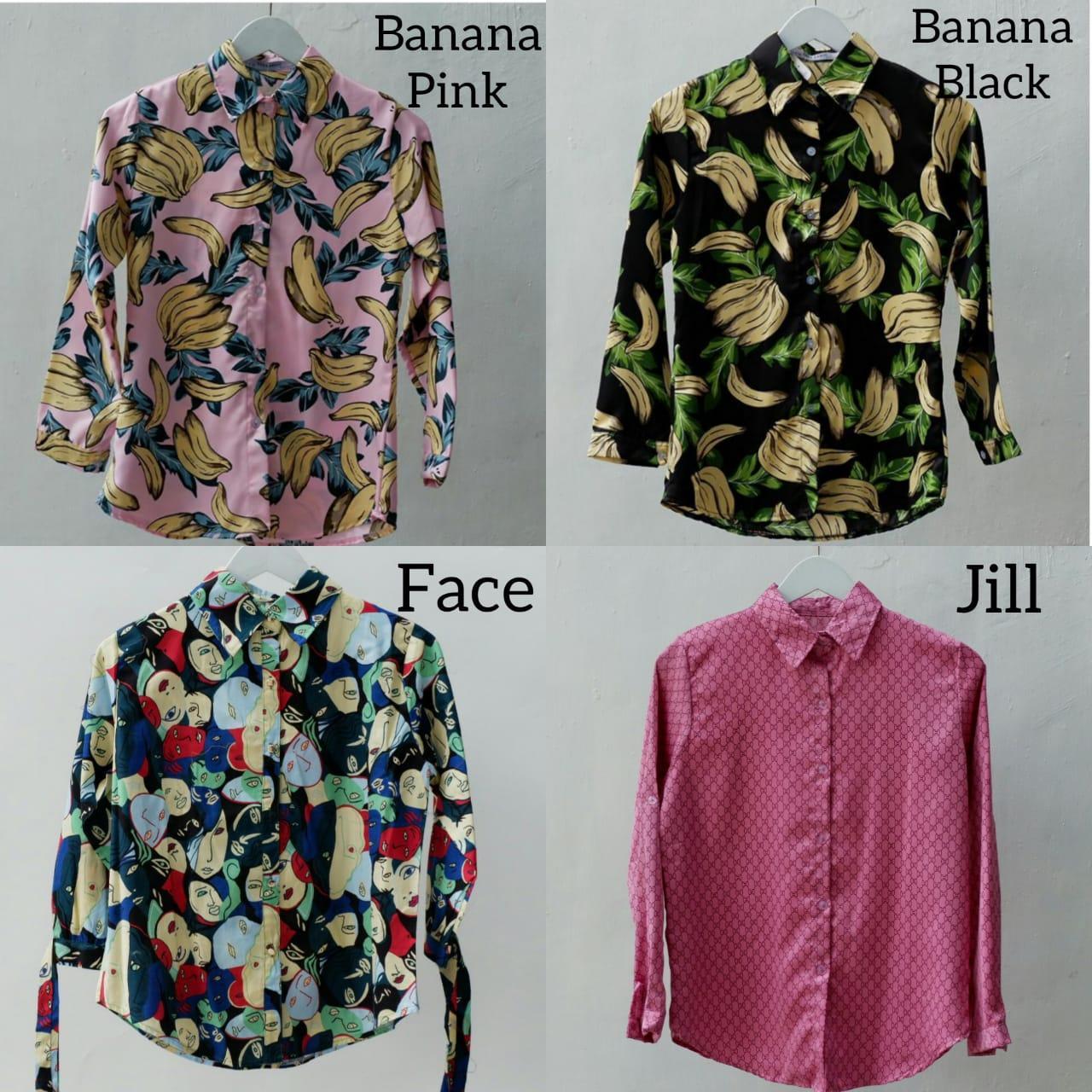 bevashop kemeja motif pattern shirt banana pisang muka face abstrak lengan panjang